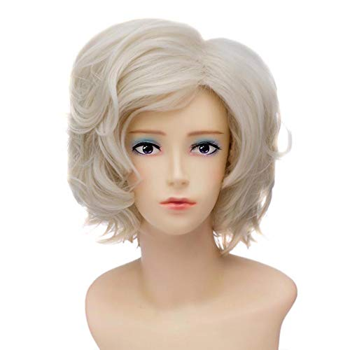 Baisheng DMM Spiele/Nitroplus Gokotai Light Blonde kurze lockige Welle Cosplay Kostüm Partei Kostüm synthetische Perücke (30cm -Weißgold) (Gokotai Kostüm)