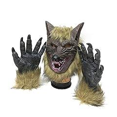 Idea Regalo - SUNREEK Lupo Mannaro Costume Lupo Artigli Guanti e Maschera per Halloween, Festa in Costume Cosplay
