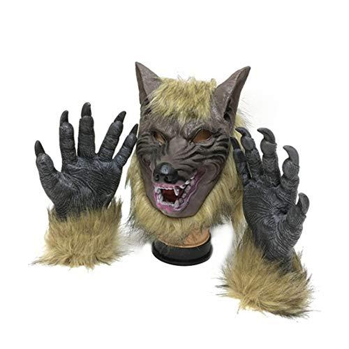 SUNREEK Werwolf Kostüm Wolfskralle Handschuhe und Kopfmaske für Halloween, Cosplay Kostüm - Einfach Das Werwolf Kostüm