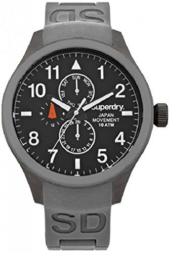 Reloj superdry Scuba multf.gris Herren Uhr analog Japanisches Quarzwerk mit Kautschuk Armband SYG110E