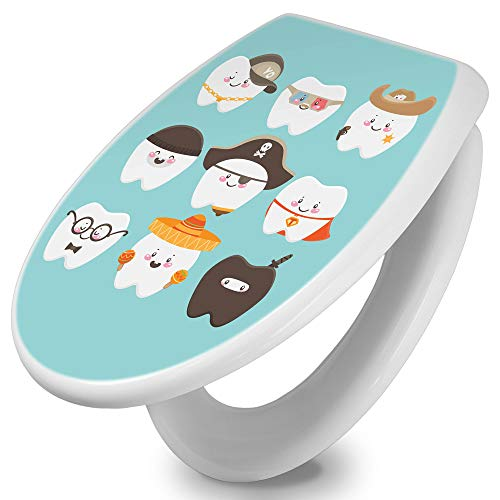 banjado Toilettendeckel Holz | WC Sitz weiß 42cm x 3,5cm x 37cm | Klodeckel aus MDF weiß | Klobrille mit Edelstahl Scharnieren | Toilettensitz mit Motiv Neun Zähne