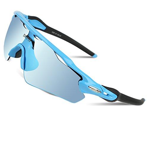 Duco polarizzato sport occhiali da sole per lo sci di guida golf running ciclismo tr90 superlight frame con 5 lenti intercambiabili 0028 (blu)