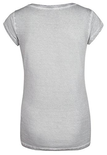 Sublevel Damen T-Shirt mit Pailetten und Batman Logo   Frauen Comic Shirts Kurz mit Rundhals Ausschnitt   Logo Print Light-Grey