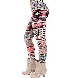 Pantalones leggins de las mujeres, RETUROM Moda cómoda mujeres elasticidad Skinny Tribal impreso elástico pantalones polainas Dama (D)