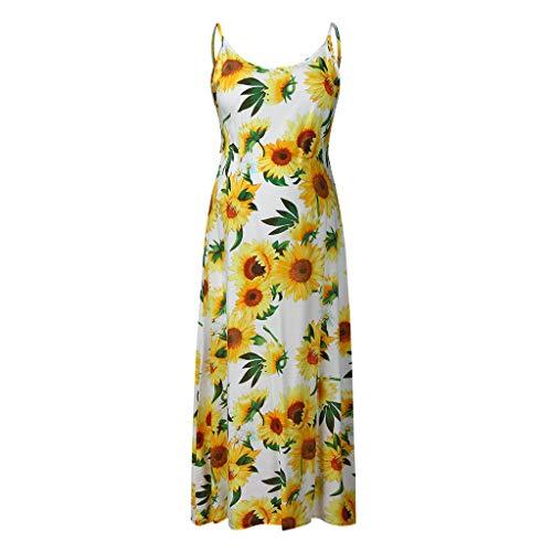 rty UmstandskleidFrauen Sleeveless Schwangere Mutterschaft Blumen Damen Print Sunflower Slip Dress ()