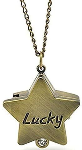 HorBous kreative Retro Vintage Bronze Taschenuhr Quarzuhren Anhänger Halskette mit Geschenkbox Set-6 Styles (Star)