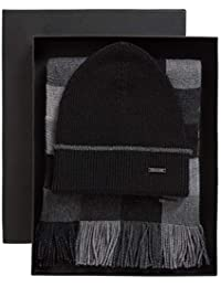BOSS Hugo Marros Black Beanie Hat   Check Scarf Set 50398653 One Size 7fd48462c408