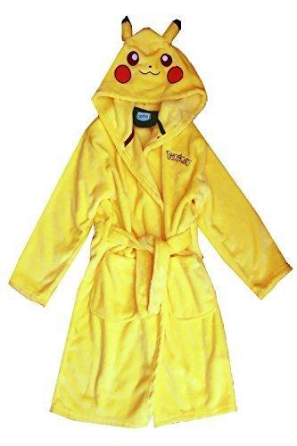 emon Pikachu Kinder alles in eins oder Robe Cosplay Charakter Jungen Mädchen Nachtwäsche - Pikachu gelb Bademantel, Alter 9-10 Jahre (Pikachu Ohren Und Schwanz)