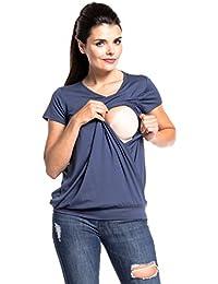 Zeta Ville - Premamá Top de Lactancia Efecto 2 en 1 Capas t-Shirt - Mujer - 436c