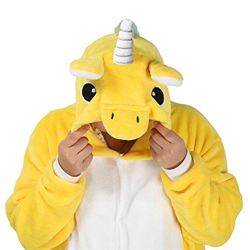 Cosplay Unicorn Pigiama Animali Unisex Pigiama Party Halloween Sleepwear Costume Cosplay Flanella Tuta S M L XL - LATH.PIN Giallo