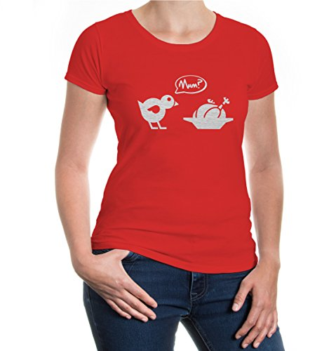 buXsbaum® Girlie T-Shirt Chick-Roast-Mum Red-Silver