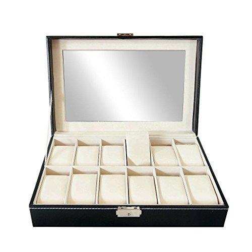 Todeco - Uhrbox, Uhr und Armband Aufbewahrung - Material der Box: MDF - Kissenmaterial: Samt - 12 Uhren und Display, Schwarz/Beige
