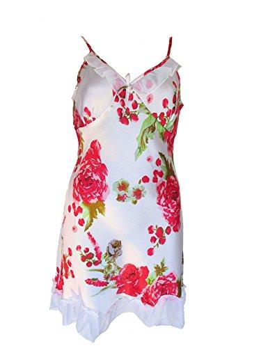 Seiden Negligé, Nachthemd aus 65 % Seide + 35 % Viskose weiß, mit Blumenmuster rot, Größe:S=Größe 36 (Seide Negligé)