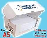 Organizza Ufficio Carta A5, 5.000 fogli, per Ricette Mediche, 10 Risme Fotocopie Extrabianco per Stampanti Laser