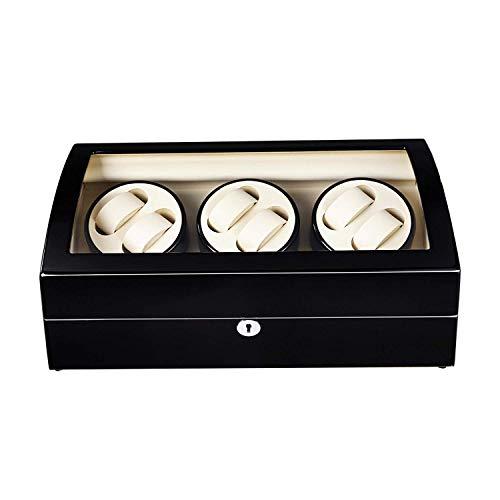 Audivik Uhrenbeweger 6 Uhren,Automatikuhren Batterie Holz Watch Winder 6 Box Automatic Uhrenbox Uhrenboxen Uhrenaufbewahrung Uhrenkasten Uhrenvitrine Uhrenschatulle Schwarz