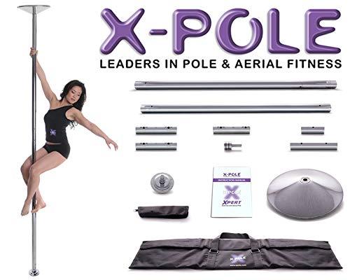 X-Pole XPert Chrome 45mm Statische und Spinning Pole Fitness Set + GoGrip Knöchelbandage + GoGrip Gloves Reinigungstuch