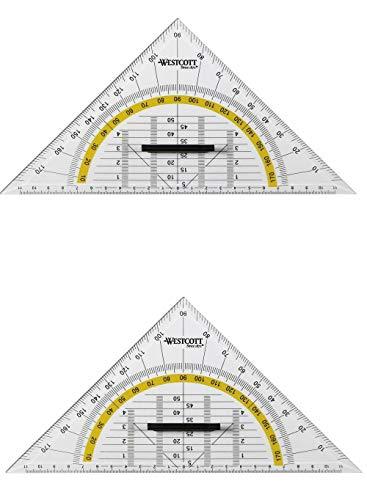 2 Stück WESTCOTT Geodreieck Geometrie-Dreieck mit Griff transparent/gelb für Schule Hobby oder Beruf