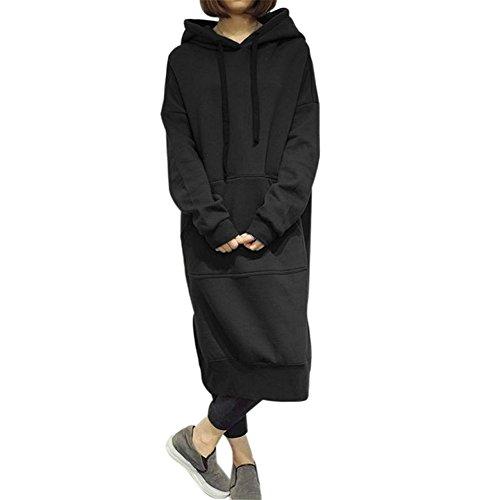 Damen Oversize Kapuzenpullover Hoodie Sweatshirt Maxi-Kleid beiläufige Jumper Pullover Lange Tops Mantel Parka Hoodies Trench-kleid