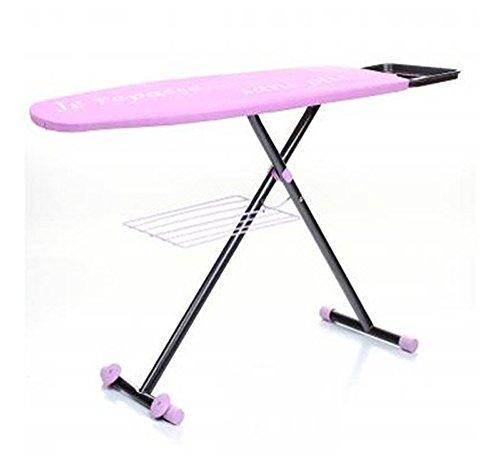 PEGANE Table à Repasser sur roulettes avec Housse de Couleur Mauve, 163 x 46 x 9 cm
