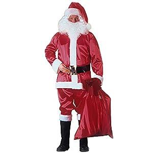 Carnival Toys 27010-Disfraz de Papá Noel, satén con gorro, barba, peluca, cinturón y überschuhen, L-XL, color rojo