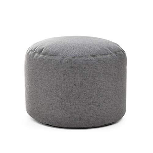 XMZFQ Runder weicher Leinen-Fußschemel Wohnzimmer-Fußstützen-Sitzsäcke Abnehmbarer und waschbarer Fußschemel-Sitzpuff,Gray