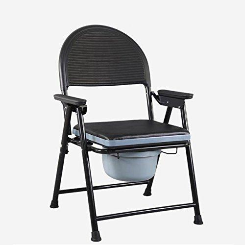 SHKD Altura fija plegable portátil Viejo asiento de inodoro acolchado Desplazamiento silla de baño Silla de ducha