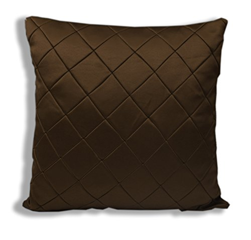 Threadmix Brown Polyester Cushion Cover ( Without Filler, Pack of 5)