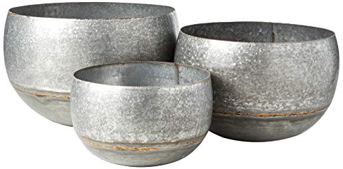 Distressed Gold Finish (Creative Co-op DA8637 Set of 3 Silver & Gold Metal Planters)