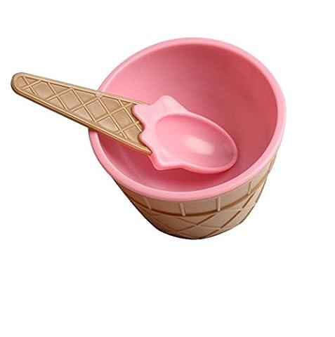 HARRYSTORE 1 PC Netter Mini Eiscreme Schüssel mit Löffeln für Kinder (Rosa) (Pops Eimer)