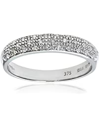 Naava - Anillo de eternidad para mujer de oro blanco 9 k (375) con diamantes pavé 0.15 ct