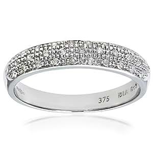 Naava Eternity Ring, 9 ct White Gold Diamond Ring, Pave Set, 15 ct Diamond Weight