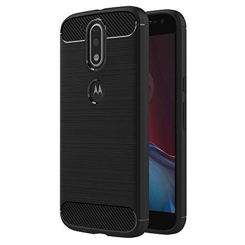 Cover Moto G4 / Moto G4 Plus, AICEK Nero Custodia Lenovo Moto G4 Silicone Molle Black Cover per Motorola Moto G4 Plus Soft TPU Case (5.5 Pollici)