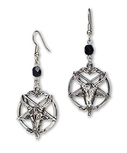 (Hänge-Ohrringe mit Baphomet-Motiv, satanischer Ziegenkopf, umgedrehtes Pentagramm, silberne Oberfläche)