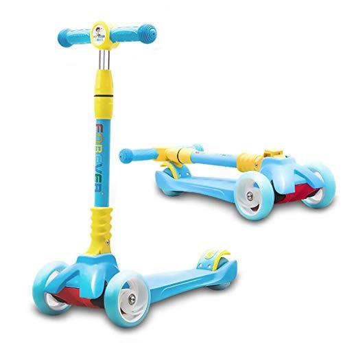 ZLMI Andador para bebés, Peso Ligero Inclinación de 3 Ruedas y Giro Patinete Plegable Patinete con Tabla T-Bar Bobbi para niños/niñas/niños/niños - Edades 2-6,Blue