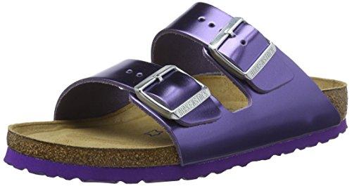 BIRKENSTOCK Damen Arizona Leder Softfootbed Pantoletten, Violett (Metallic Violet), 36 EU