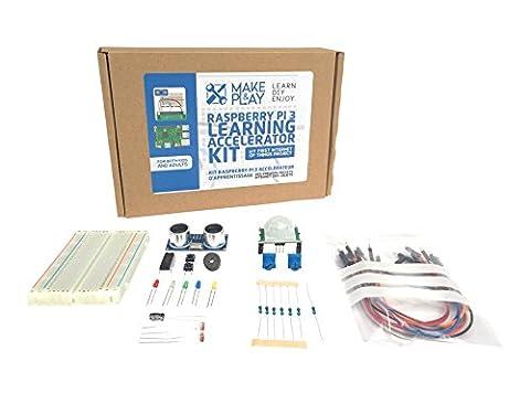 Kit Raspberry Pi 3 d'apprentissage électronique & internet des objets - Projets funs, faciles et complets avec tutorial pour débutant et confirmé. Pack composants : LED, résistances, breadboard, câbles, détecteurs, PIR, HC-SR04, etc.