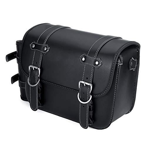 Be82aene Satteltasche Motorrad Leder Satteltaschen Schwinge Einseitige Packtasche Schwarz Universal