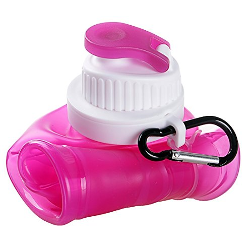 VALUE MAKERS 500ml Folding Silikon Wasser Flasche -. Sports Bottles - Folding Travel Wasserflaschen mit ungiftig - Einfach zu säubern und zu speichern Pink