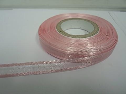 2m x 10mm bords ruban en organza, bébé rose, rose clair, double face, SATIN Edge, transparent 10mm