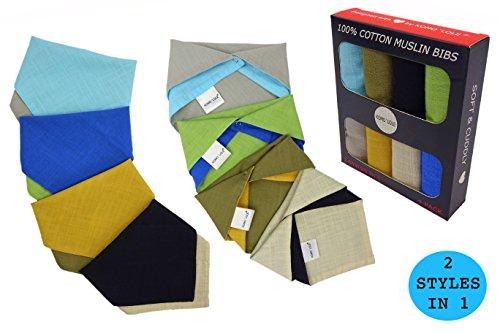 KOMO´LOLE® Baby Dreieckstuch Halstuch Lätzchen Spucktuch 4er Pack = 8 Styles wendbar (2 Designs in 1) Baby-Halstücher Set für Junge-n und Mädche-n Kleinkinder/100% Baumwolle/Nickelfreie Druckknöpfe (Mehrfarbig1) (Halstuch Set)