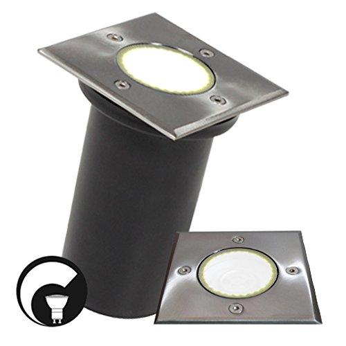 LED Bodeneinbaustrahler/ Edelstahl/ Gartenstrahler/ Bodenleuchte/ IP67/ GU10-230V/ Quadratisch (DIMMBAR / Warmweiß)