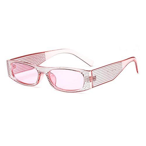 TYJYTM Rechteck Sonnenbrille Frauen Schatten Retro Klassische Schwarz Rot Rosa Strass Sonnenbrille Weibliche Party Sommer Strand