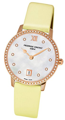 Frederique Constant Slim Line Joaillerie Rose Gold Plated & Diamond Womens Watch FC-220MPW4SD34