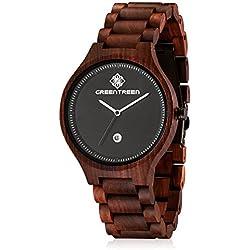 GREENTREEN Men's Wood Wristwatch with Calendar Quartz Watches Mens Red Sandalwood Watches
