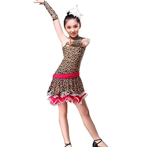 Byjia Kinder Tanz-Outfit Schrägkragen Leopard Lateinisches Tanzkleid Kostüm Mädchen Kindertag Professional Performance, Coffee, L