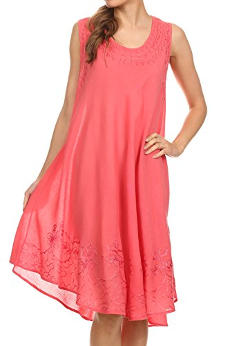 Sakkas 1051 Tägliches Essentials Kaftan Kleid/Cover Up - Coral - One Size - Viskose Importiert