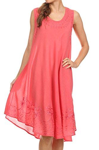 Sakkas 1051 Tägliches Essentials Kaftan Kleid/Cover Up - Coral - One Size