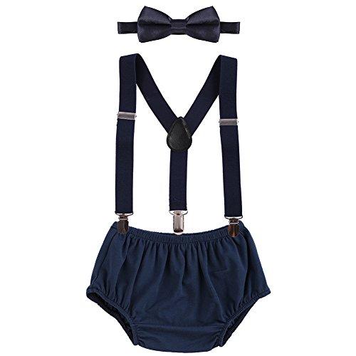 OBEEII Baby 1. / 2. Geburtstag Outfit Neugeborenen Kinder Bloomer Shorts + Fliege + Clip-on Hosenträger 3pcs Bekleidungssets für Foto-Shooting Kostüm Dunkelblau