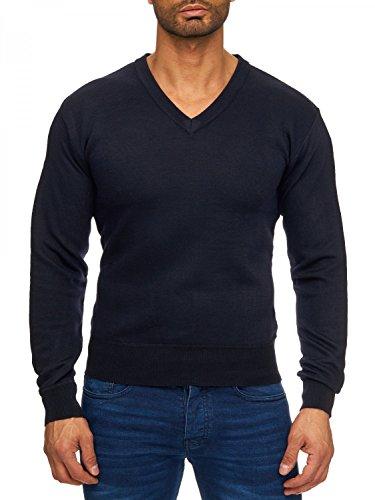 Herren V-neck Wolle Pullover (Herren Pullover   (Regular Fit) Feinstrickpullover mit V-Ausschnitt und Rippbündchen, klassisch eleganter Schnitt   H1729 von Max Men, Farben:Blau, Größe Pullover:XL)