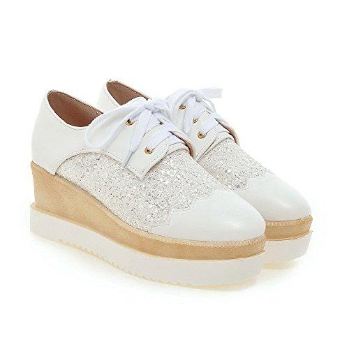 AgooLar Damen Weiches Material Quadratisch Zehe Mittler Absatz Schnüren Rein Pumps Schuhe Weiß